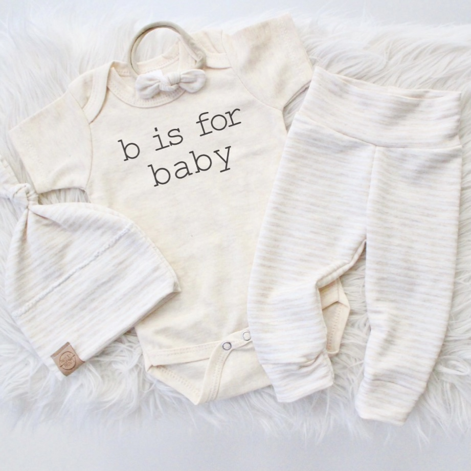 B is for Baby Onesie - Oatmeal
