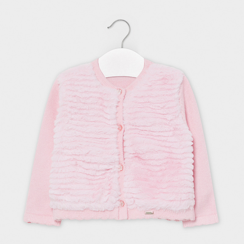Mayoral Pink Fur Cardigan