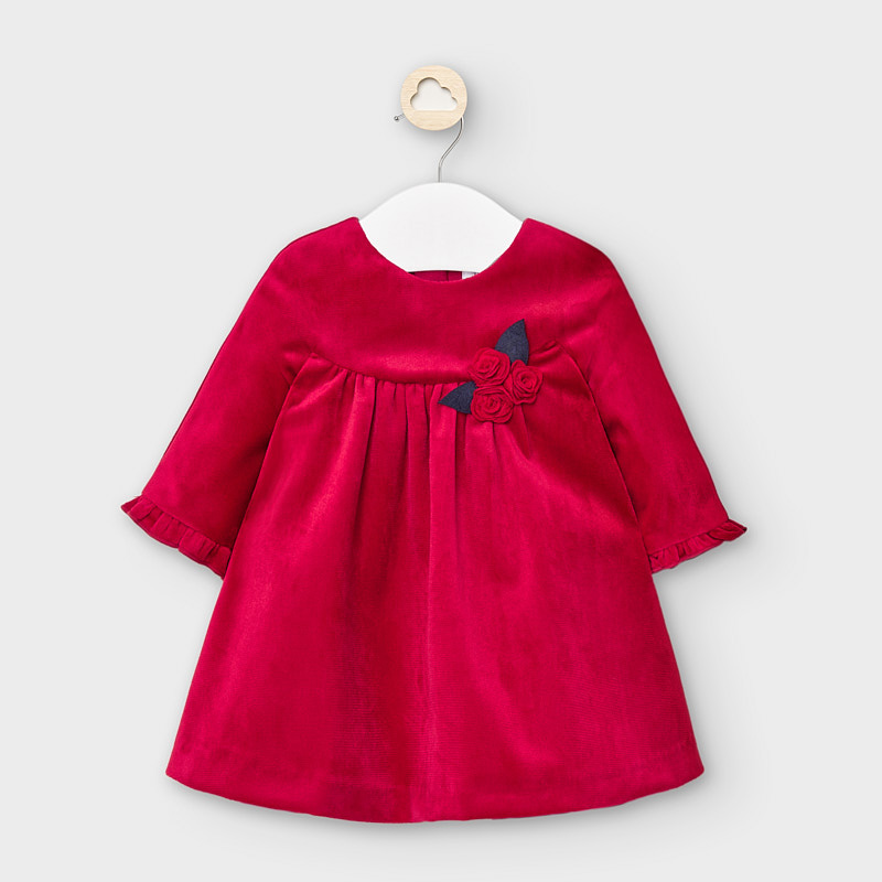 Velvet Long Sleeve Dress Baby Girl - Red