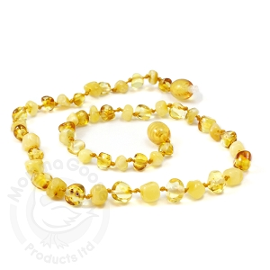 Amber Teething Necklace - Baroque Lemon & Milky