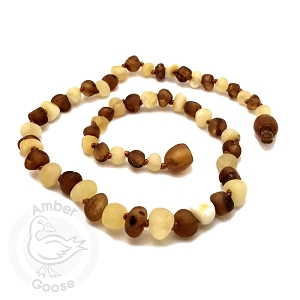 Amber Teething Necklace -Unpolished Baroque Cognac & Milky