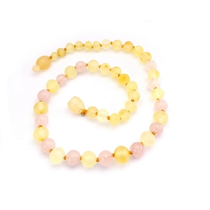 Amber Teething Necklace - Raw Lemon & Rose Quartz
