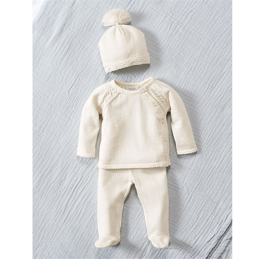 Mud Pie Ivory Cable Knit Take Home Set | Hospital Outfits for Sweet ...