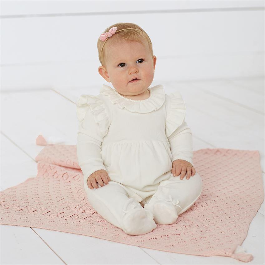 Mud Pie Ruffle Velvet Sleeper | Hospital Outfits for Sweet Baby Girls!