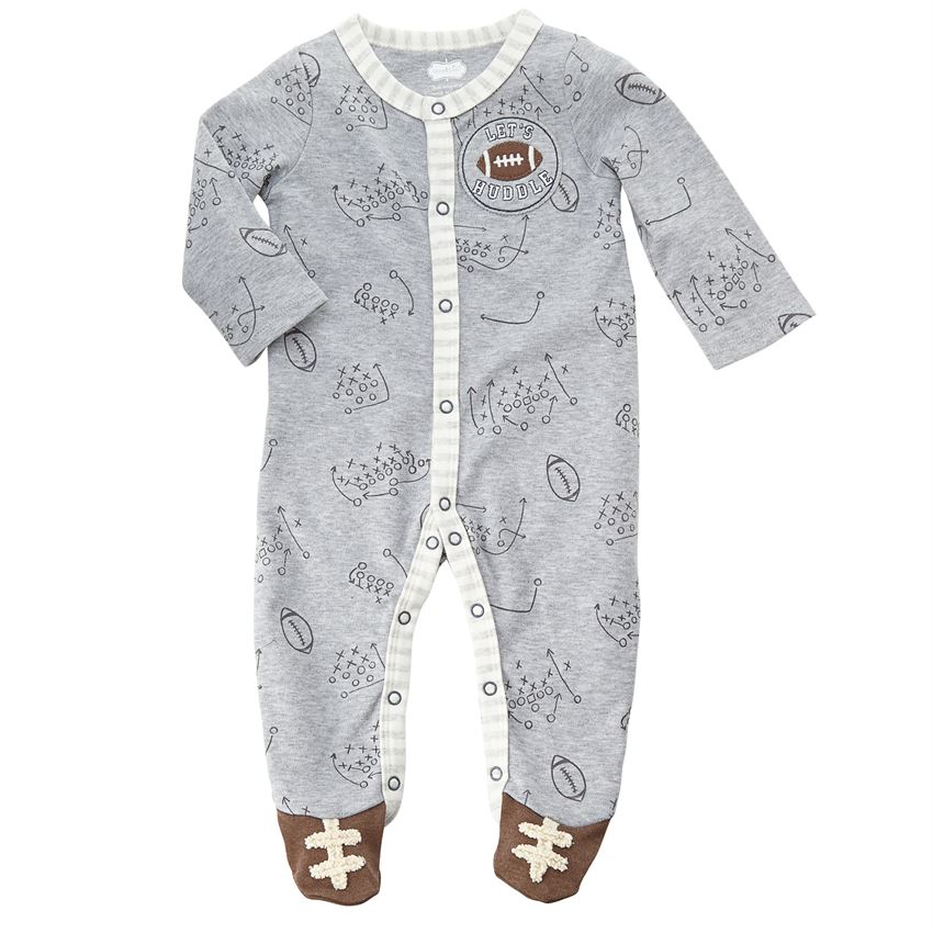 Mud Pie Football Playbook Sleeper | Cute Coming Home Outfits for ...