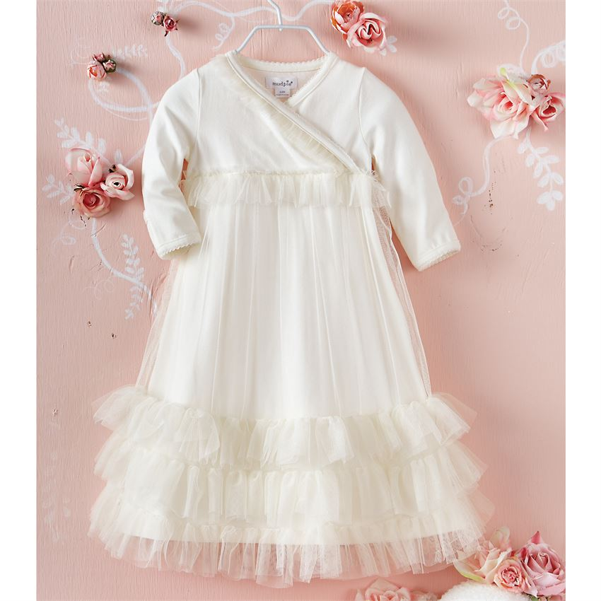 Mud Pie Tiered Mesh Gown | Hospital Outfits for Sweet Baby Girls!