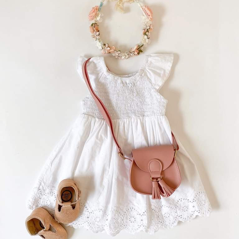 Eyelet Girl's Dress - White