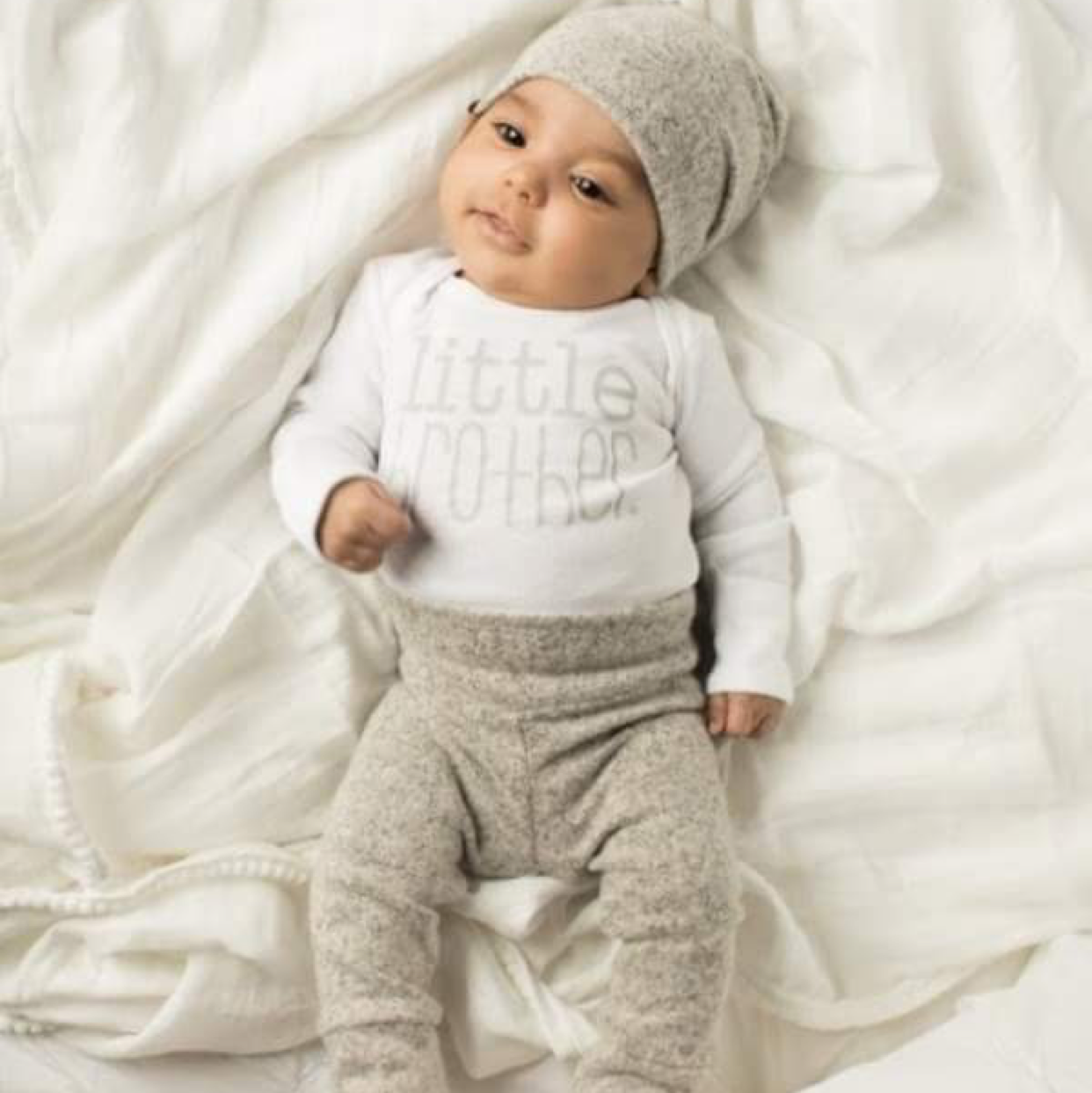 pima cotton Little brother outfit gown coming home outfit little brother gift sibling set