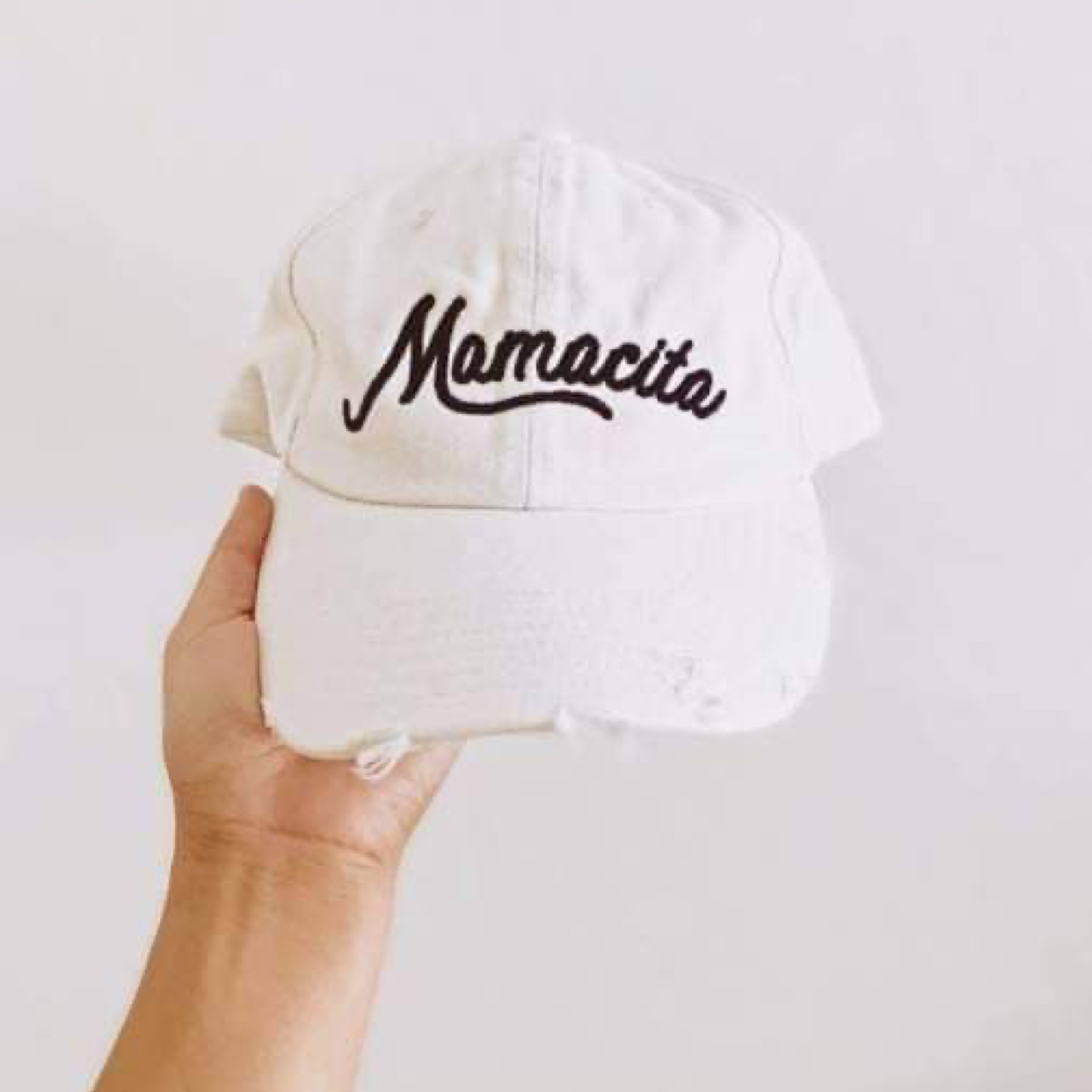 Mamacita Distressed White Hat
