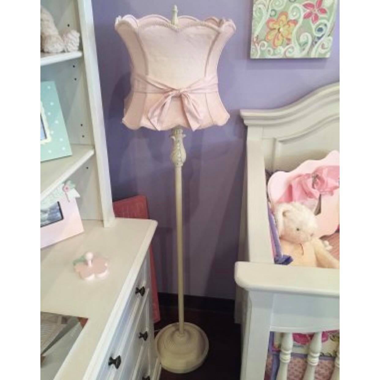 Pink Hourglass Floor Lamp with Sash