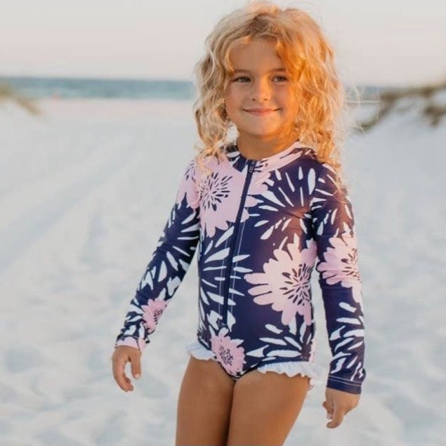 One Piece Zip Rash Guard Navy Pink Flowers