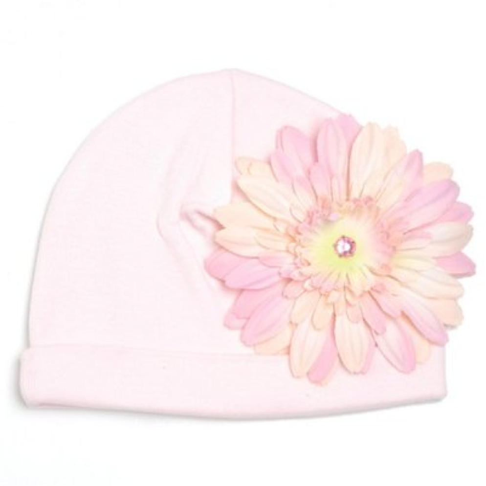 Pale Pink Hat with Pale Pink Daisy