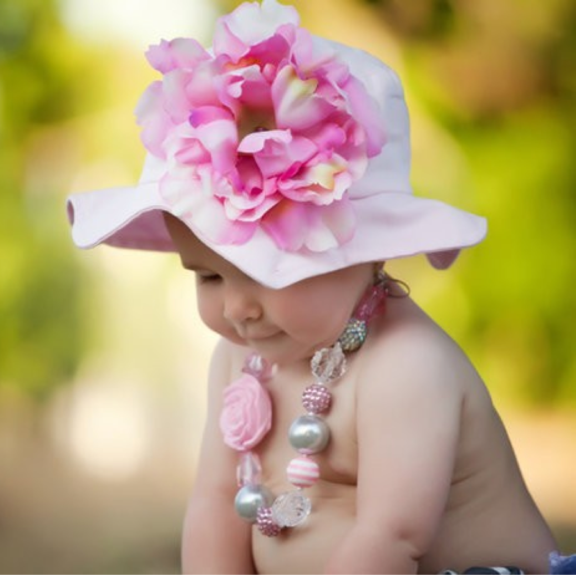 Pale Pink Sun Hat with Pale Pink Peony
