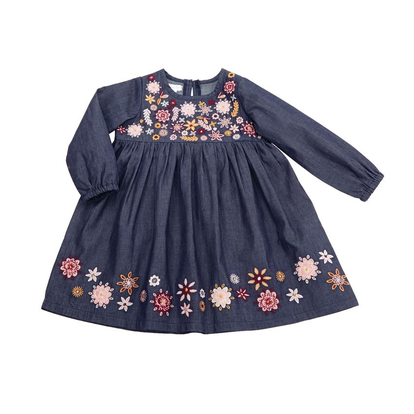 Mud Pie Embroidered Chambray Dress Fall Outfits For Sweet Baby Girls