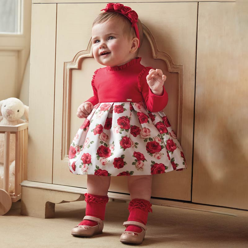 Floral Dress Baby Girl - Red