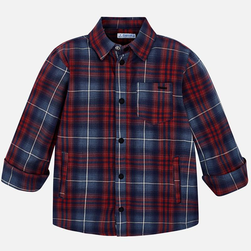 Mayoral Boys Plaid Lined Button Down Shirt