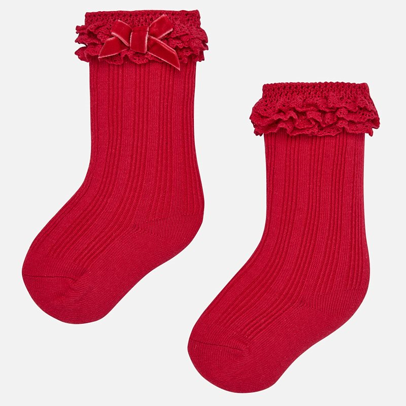 Bow Boot Socks - Red