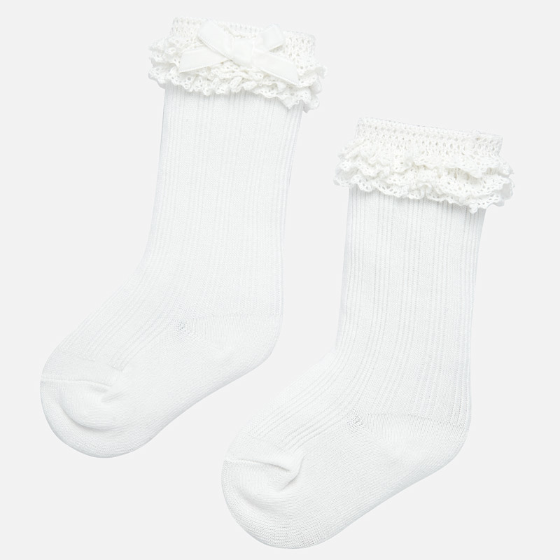 Bow Boot Socks - White