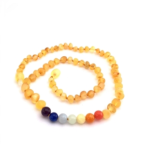 Amber Teething Necklace -Raw Lemon & Rainbow Gem