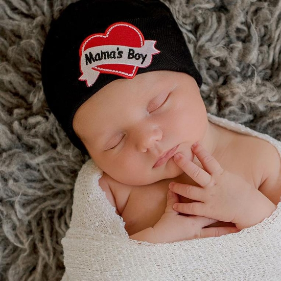 Mama's Boy Tattoo Newborn Hat