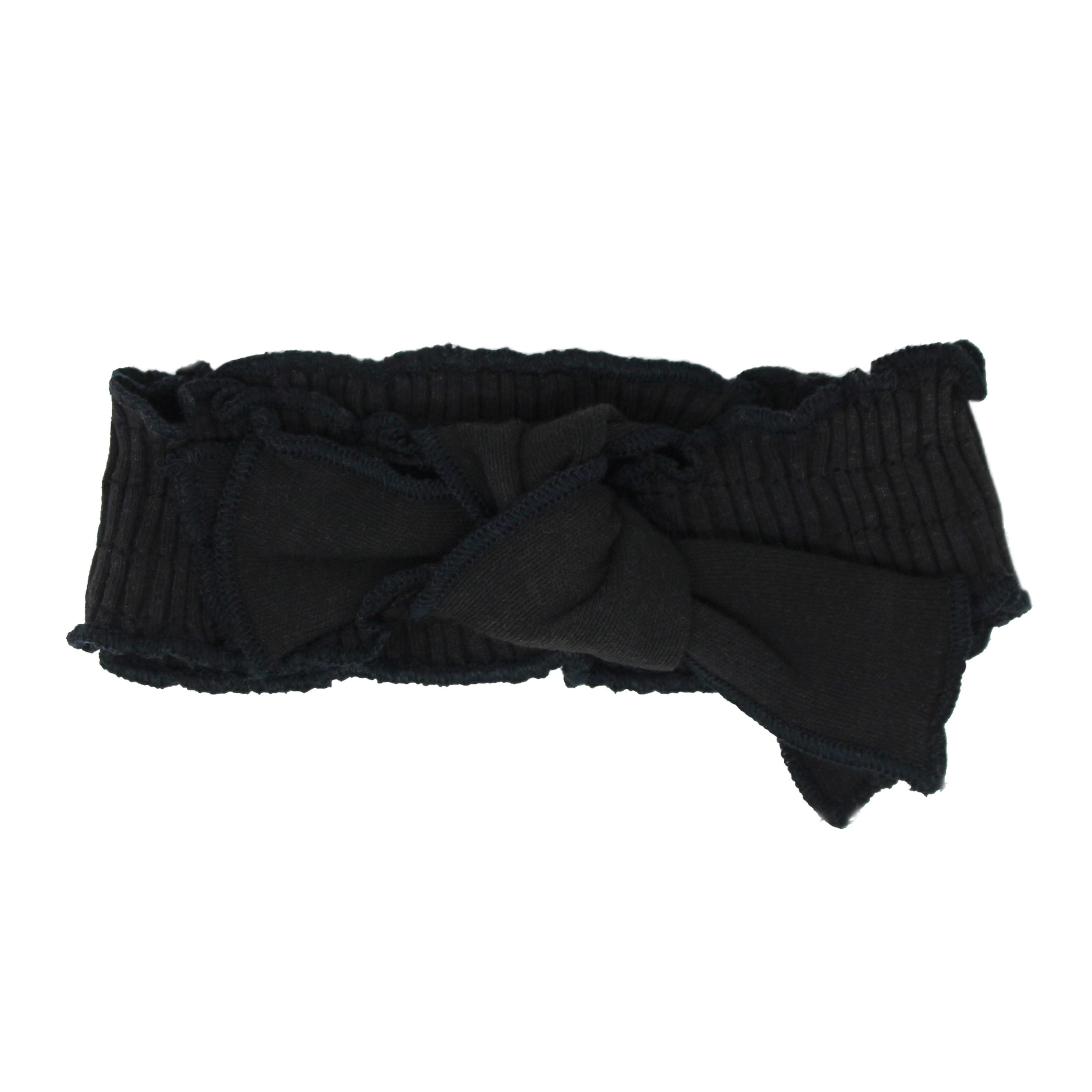 Black Smocked Tied Headband