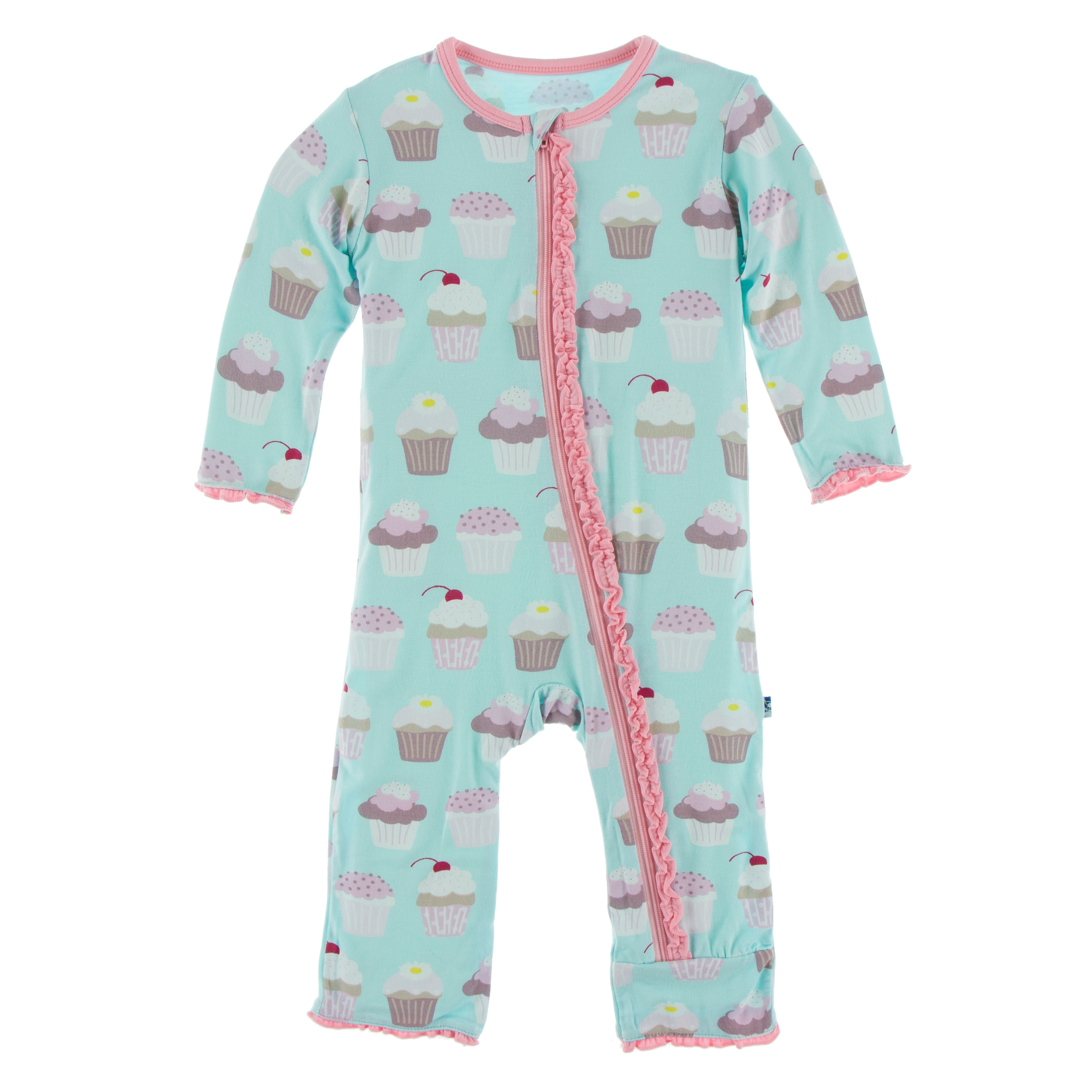 Kickee Pants Solid Muffin Ruffle Coverall with Zipper -  Summer Sky Cupcake