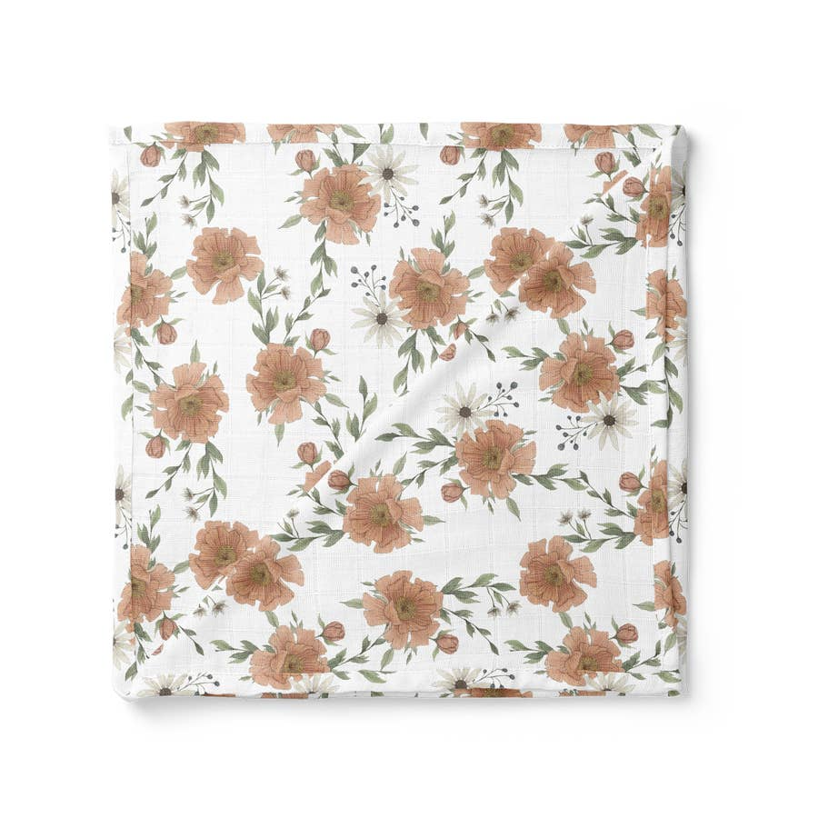 White Peony Blooms Swaddle