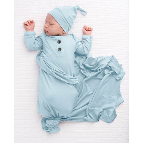 Knotted Gown & Hat - Baby Blue