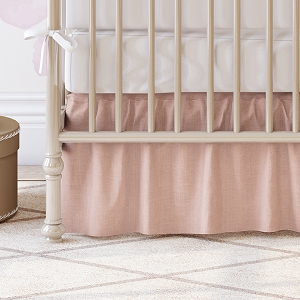 Liz and Roo Ruffled Crib Skirt - Blush Peach Linen