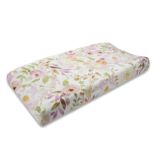 Liz and Roo Contoured Changing Pad Cover - Blush Watercolor Floral