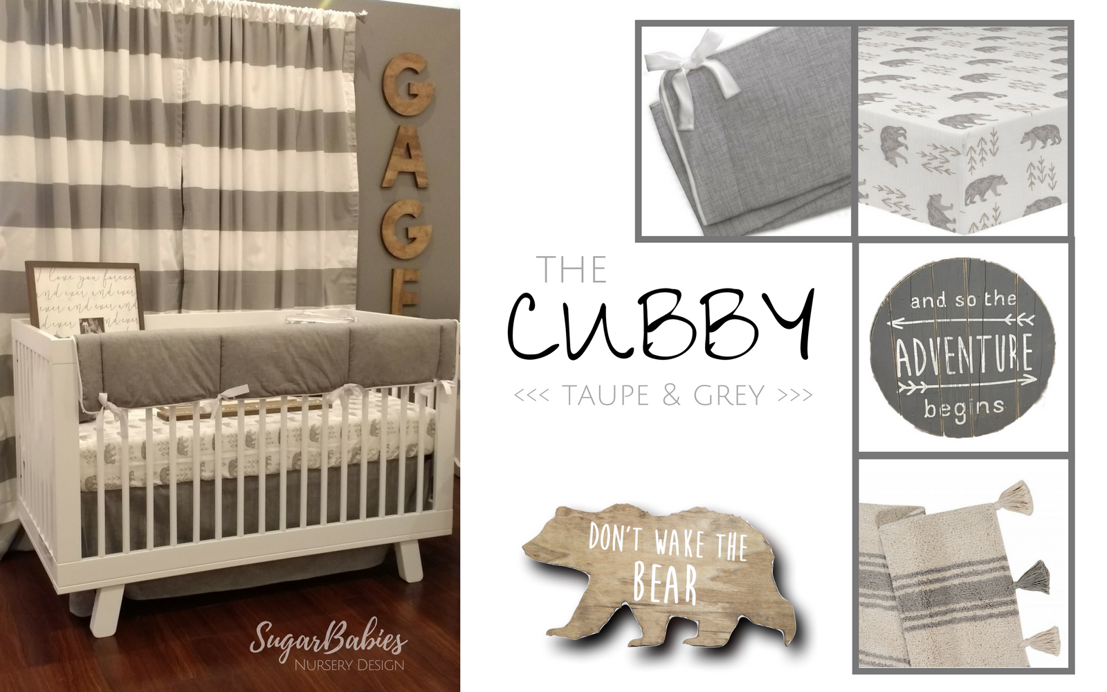 The Cubby Nursery Taupe Grey Find Beautiful Gender Neutral Designs At Sugarbabies Boutique