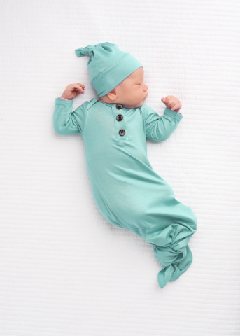 Knotted Gown & Hat- Mint