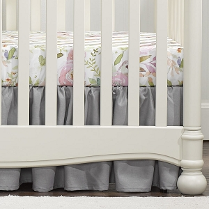 Liz and Roo Ruffled Crib Skirt - Fog Grey Linen