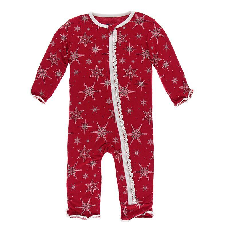 Kickee Pants Print Ruffle Coverall with Zipper - Crimson Snowflakes