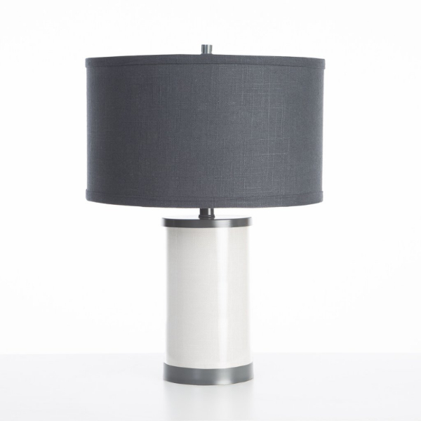 Oilo Linen Table Lamp with Gun Metal Finish