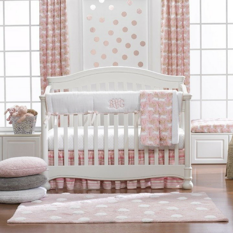Pink, white, and gold bedding adorned with stars and unicorns... Magical! | Isn't She Lovely! - SugarBabies Blog
