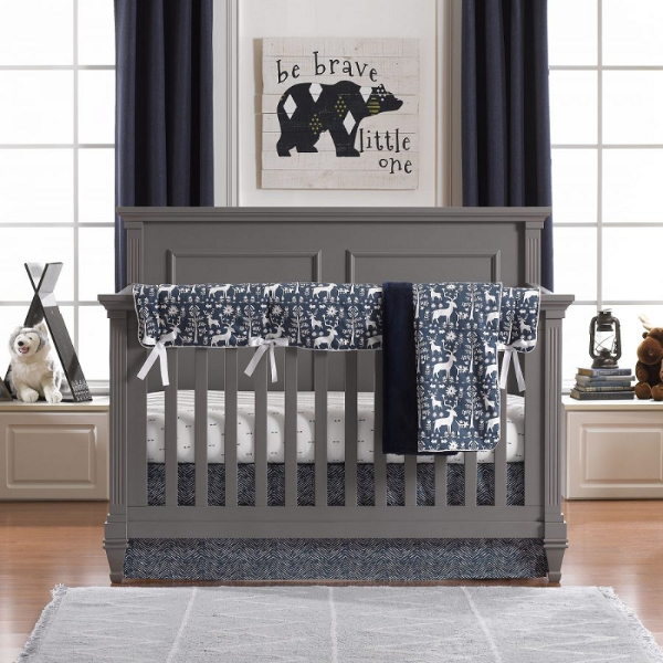 Liz and Roo Navy Woodland Forest Bedding