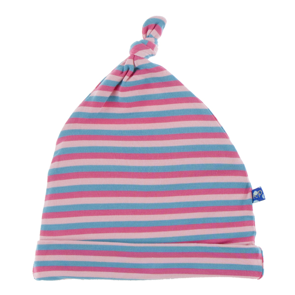 Kickee Pants Print Knot Hat - Flamingo Stripe