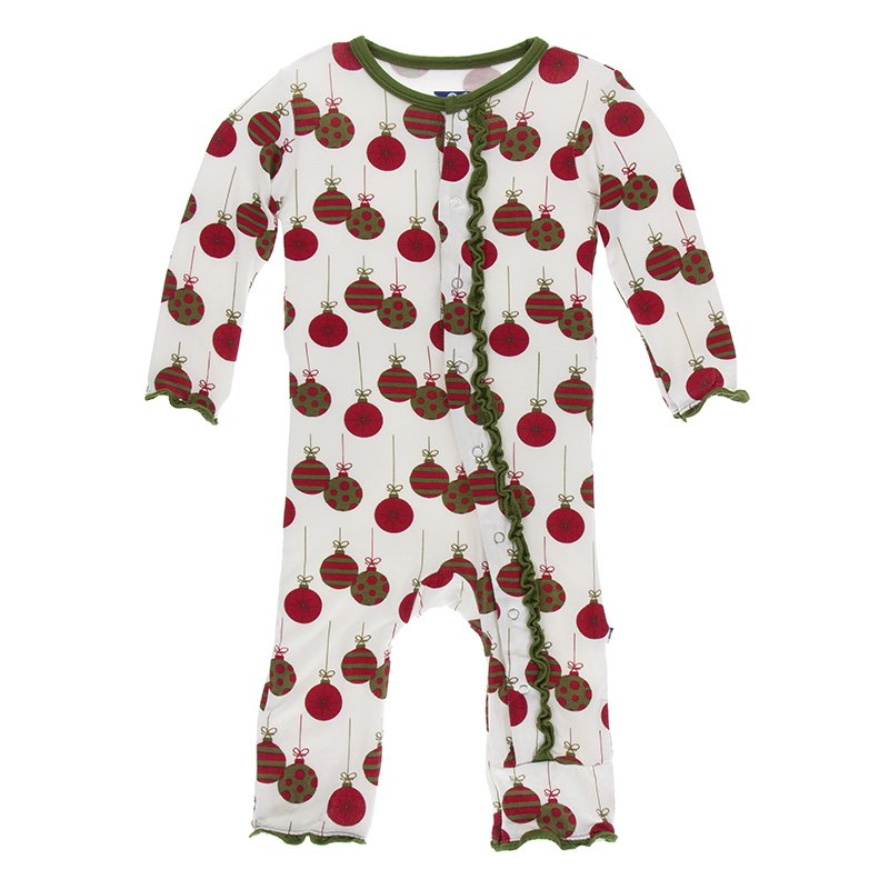 Kickee Pants Print Ruffle Coverall with Zipper - Natural Ornaments
