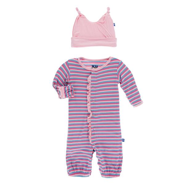 Kickee Pants Flamingo Anniversary Stripe Print Ruffle Converter Gown ...
