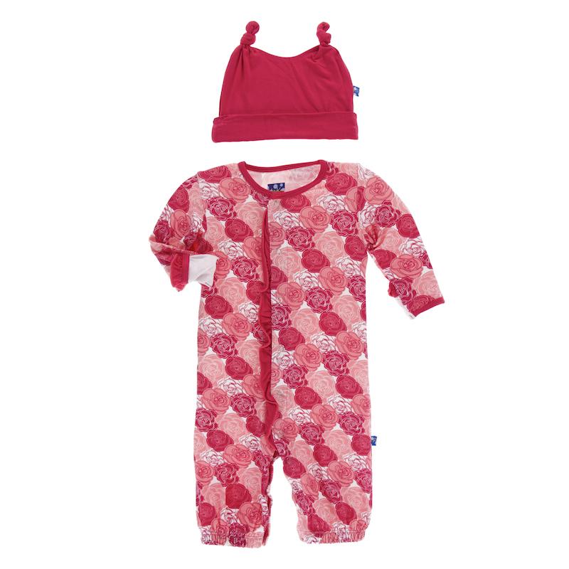 Kickee Pants Roses Print Ruffle Converter Gown & Hat Set | Shop ...