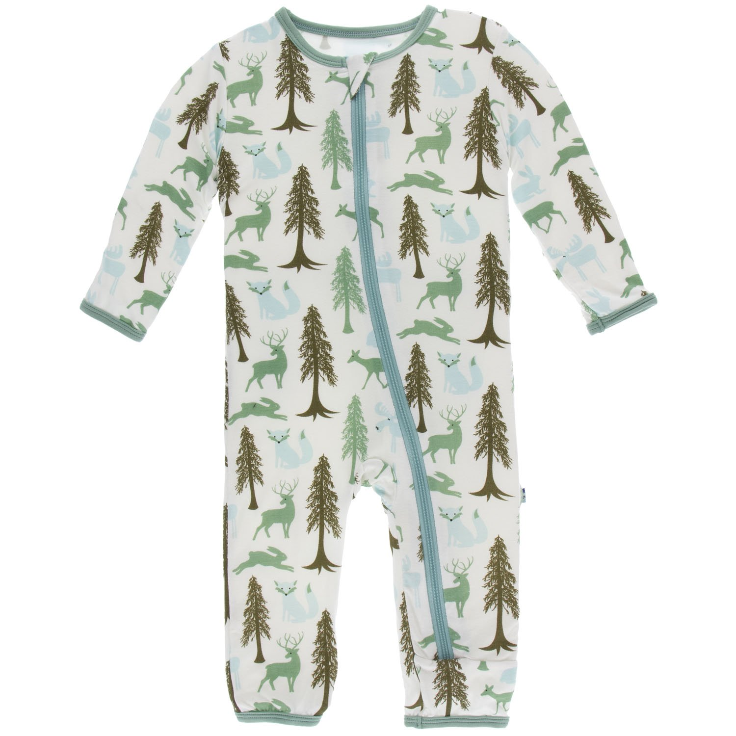 KicKee Pants Print Coverall with Zipper - Woodland Holiday