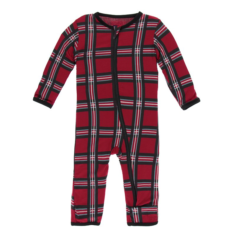 KicKee Pants Print Coverall with Zipper - Christmas Plaid 2019