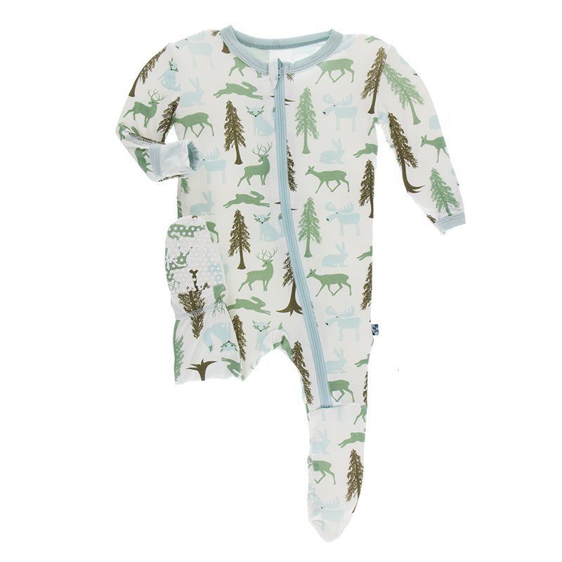 KicKee Pants Sleeper with Zipper - Natural Woodland Holiday
