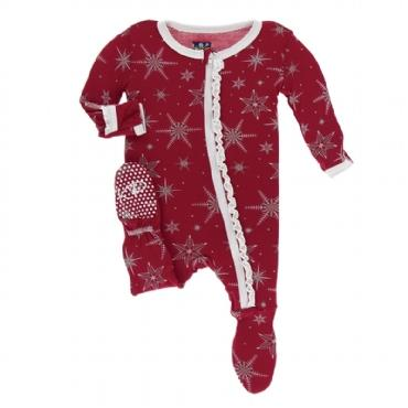 Kickee Pants Print Ruffle Muffin Footie with Zipper-Crimson Snowflake