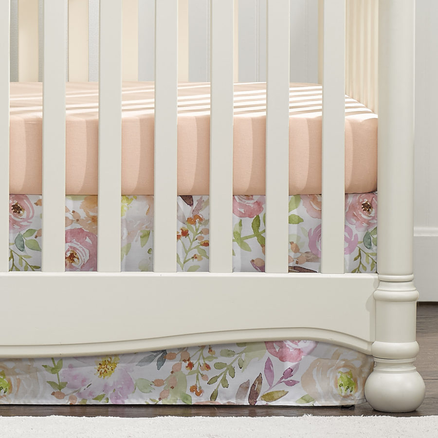 Liz and Roo Crib Skirt - Blush Watercolor Floral
