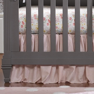Liz and Roo Ruffled Crib Skirt - Petal Pink Linen