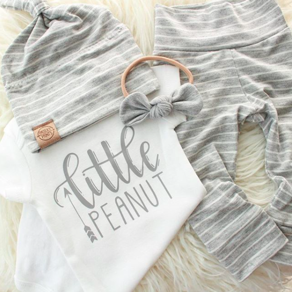 Little Peanut Onesie - White & Grey