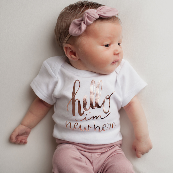 Hello I M New Here Rose Gold Onesie Shop Baby Boutique