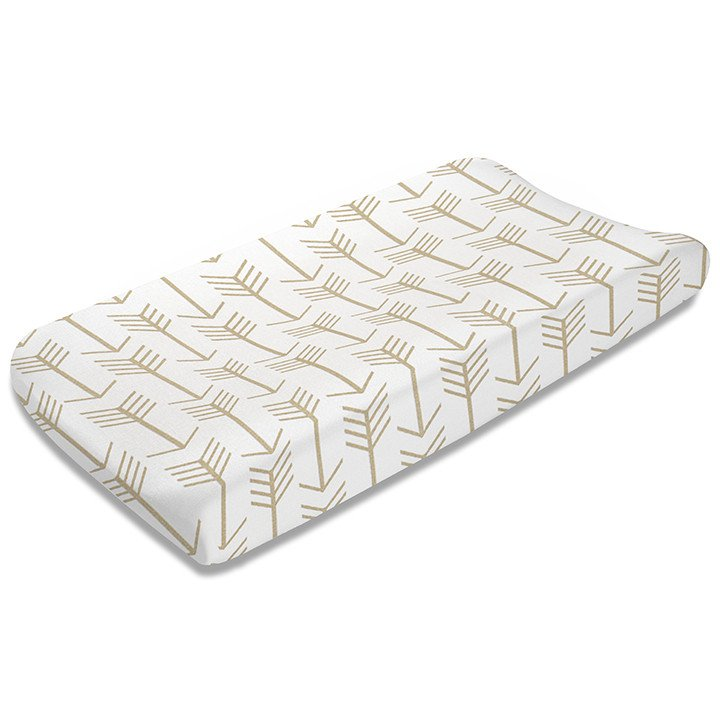 Liz and Roo Contoured Changing Pad Cover - Tan Arrows